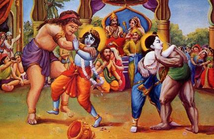 Krsna and Balarama Fought with Kamsa Wrestler
