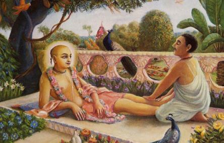 King Prataprudra touching Caitanya Mahaprabhu's Lotus Feet