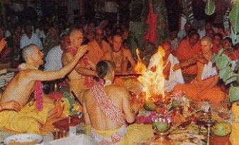 Yasodanandana Swami Leads A Sacrifice Inaugurating The Fiji Temple