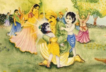 Nanda Baba With Krsna Balarama