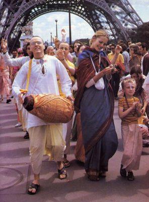 She Joins Devotees  in Sankirtana