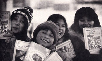 Eskimo Children in Yellow Knief Were Enthusiastic to Receive Literature on Krsna Consciousness From Canadian Devotees