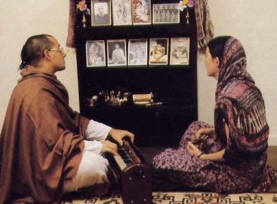 Sitarani And Her Husband Subhananda Meditate at Home by Chanting Hare Krsna Mantra