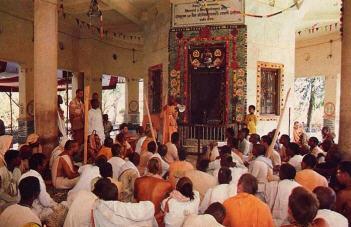 Devotees in ISKCON Temple