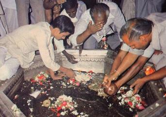 Pilgrims Worship the Footprints of Lord Visnu