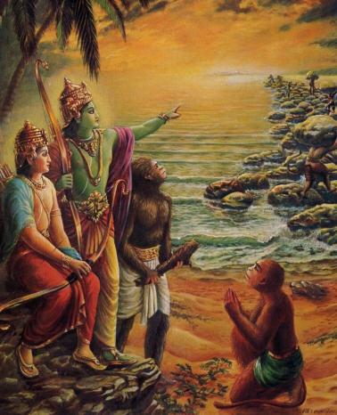 Śrī Rāma representado con tez aceitunada