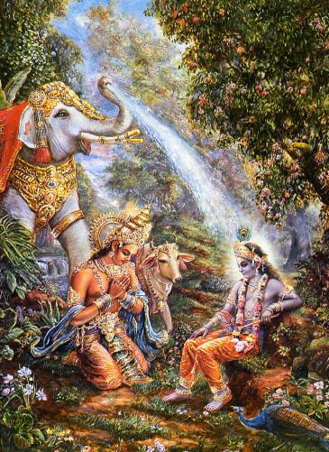 Indra's Elephant Bathes Lord Krsna