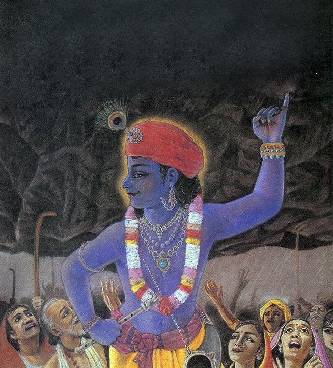 Krishna Lifting Govardhan