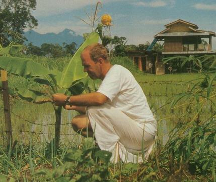 Dayasara Dasa Inspects a Young Plant