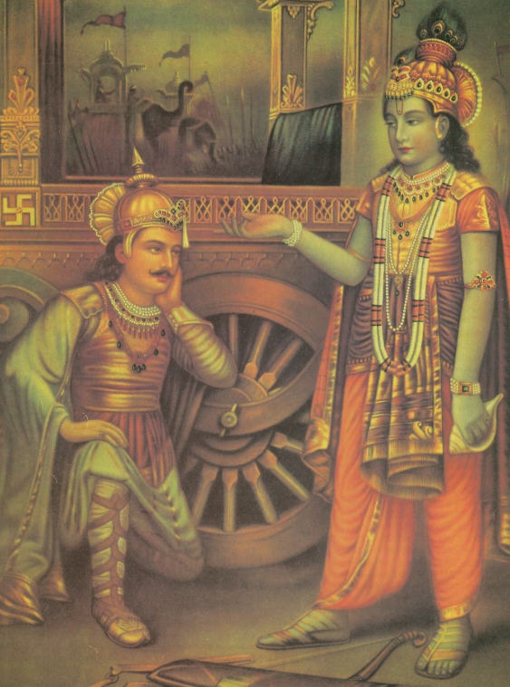 Lord Krsna Instruct Arjuna on The Battlefield of Kuruksetra