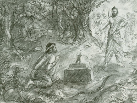 Ekalavya Prepare To Offer His Thumb To His Guru