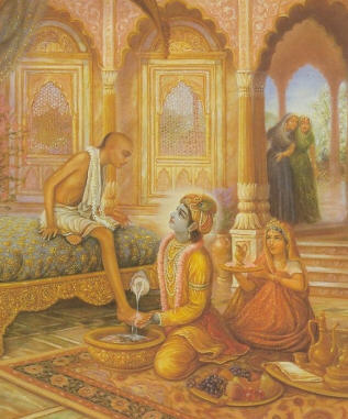 Lord Krsna Welcomes His Friends Sudama