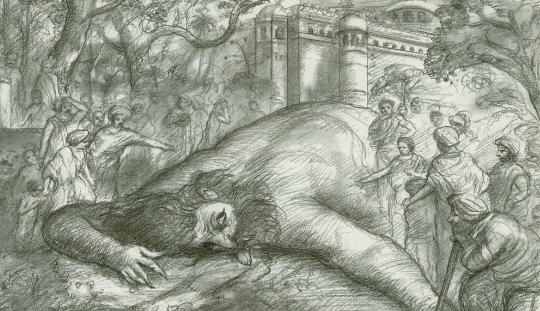 The People of Ekacakra Find The Slain Man Eater Ourside The City Gates