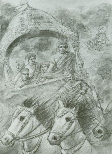 The Pandavas With Kunti and Kunti