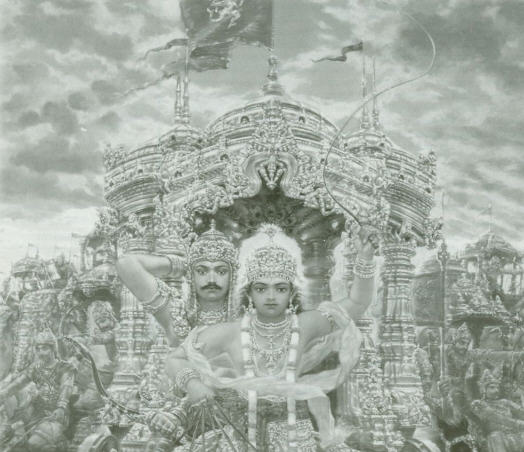 Lord Krishna Drives Arjuna Chariot