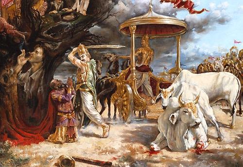 Parikshit Maharaj Cutting The Leg Of Kali