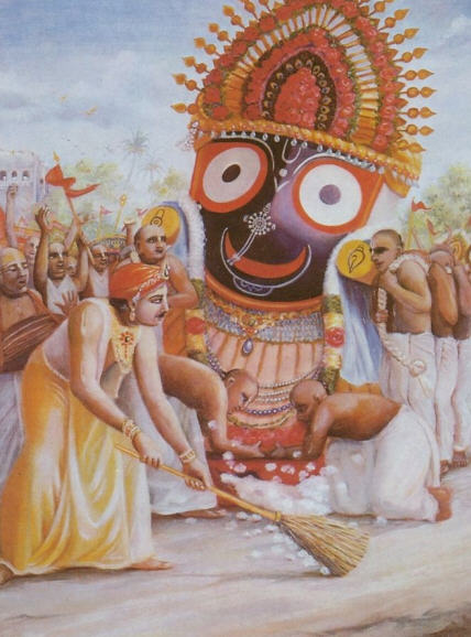 King Prataparudra Sweeping The Street in Font Of Lord Jagganath