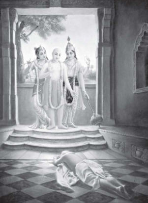 Lord Caitanya Manifests His Form of Lord Krsna and Visnu Before Bhattacarya