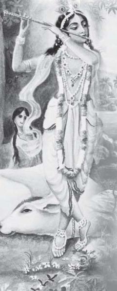 Lord Krishna Plays His Flute by Gautam Saha
