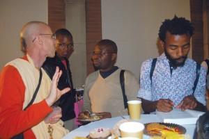 Jayadvaita Swami speaks informally with audience members