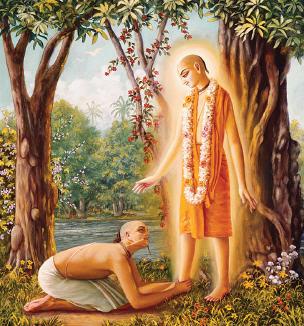 Sanatana Gosvami approaches Lord Caitanya